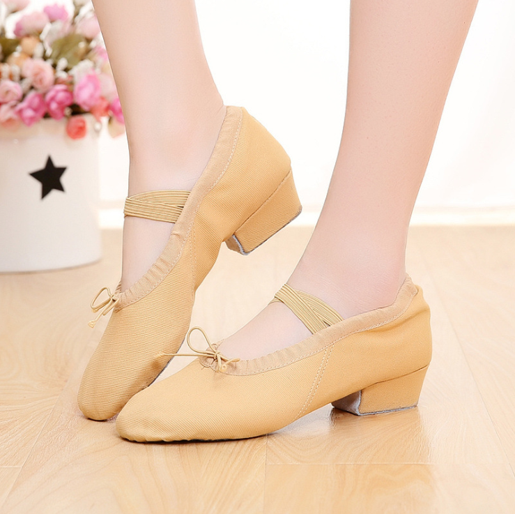 Dancing-Shoes Belly Canvas Women for Middle-Heel Girls Yoga Wholesale 100-Pair by DHL