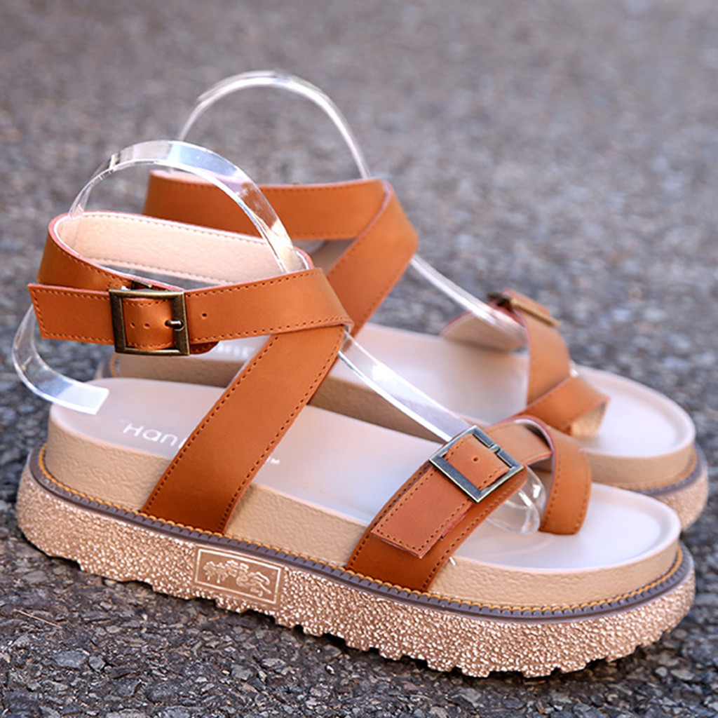 SAGACE Shoes New Fashion Women Comfortable Wedges Platform Buckle Strap Shoes Summer Female Casual Plus Size 35-43 Sandals Jul7(China)