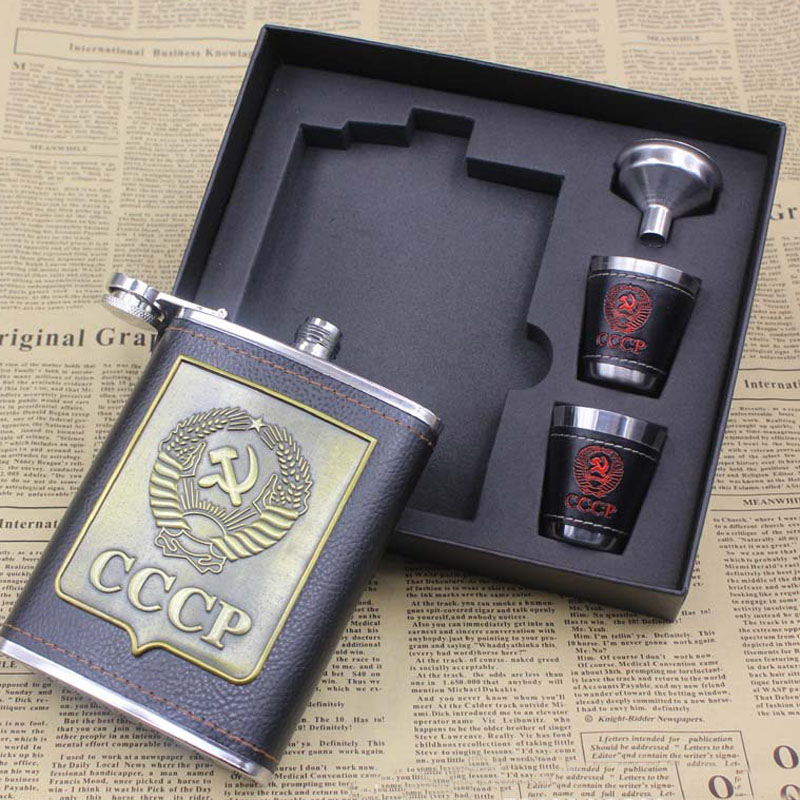 8 Oz Stainless Steel Hip Flask Set CCCP Flagon PU Leather Wrapped With 1 Funnel 2 Cups whisky flask for alcohol laser heupfles
