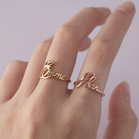 925 Sterling Silver Personalised Customizable Child Name Ring Cursive Name Ring For Women Romantic Couple Ring Name Jewelry Gift