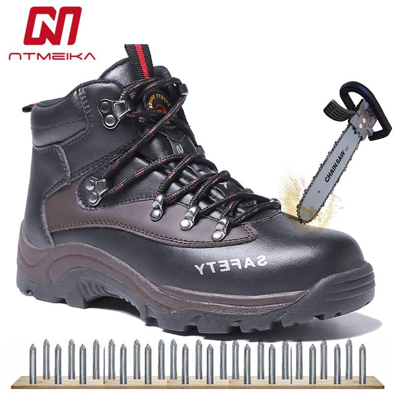 Grande taille 35-46 hommes chaussures de sécurité en cuir de vache en acier orteil chaussures de travail hommes hiver chaud bottes de sécurité résistant à l'usure bottes de travail pour hommes
