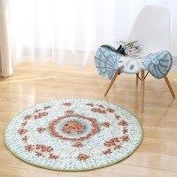 Luxury Europe Jacquard Carpet 80CM/100CM Diameter Round Area Carpet Parlor Bedroom Balcony Chair Rugs Anti skid Floor Mats