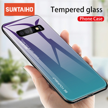 Suntaiho Gehärtetem Glas Fall Für Samsung Galaxy A50 Hinweis 10 S10 S9 S8 Plus S10e A30 A6 A8 Plus A9 m30 M20 Aurora Bunte Abdeckung