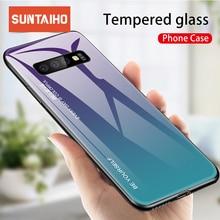 Suntaiho szkło hartowane etui do Samsung Galaxy A50 uwaga 10 S10 S9 S8 Plus S10e A30 A6 A8 Plus A9 M30 M20 Aurora kolorowe okładka