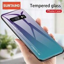 Suntaiho vidro temperado caso para samsung galaxy a50 nota 10 s10 s9 s8 mais s10e a30 a6 a8 plus a9 m30 m20 aurora colorido capa