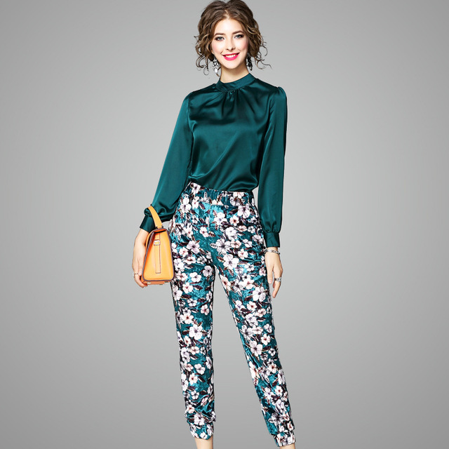 e3800e8989 Moda Inverno 2017 Outono das Mulheres Calças 2 Peças Conjunto Elegante  senhora Blusa de Cetim De