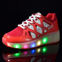 Children Glowing Sneakers Kids Roller Skate Shoes Children Led Light up Shoes Girls Boys Sneakers with Wheels heelys(China)