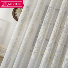 MISSION Modern Tulle Curtains for Living Room Kitchen Geometric Sheer Curtain Bedroom Voile Window Door Drapes
