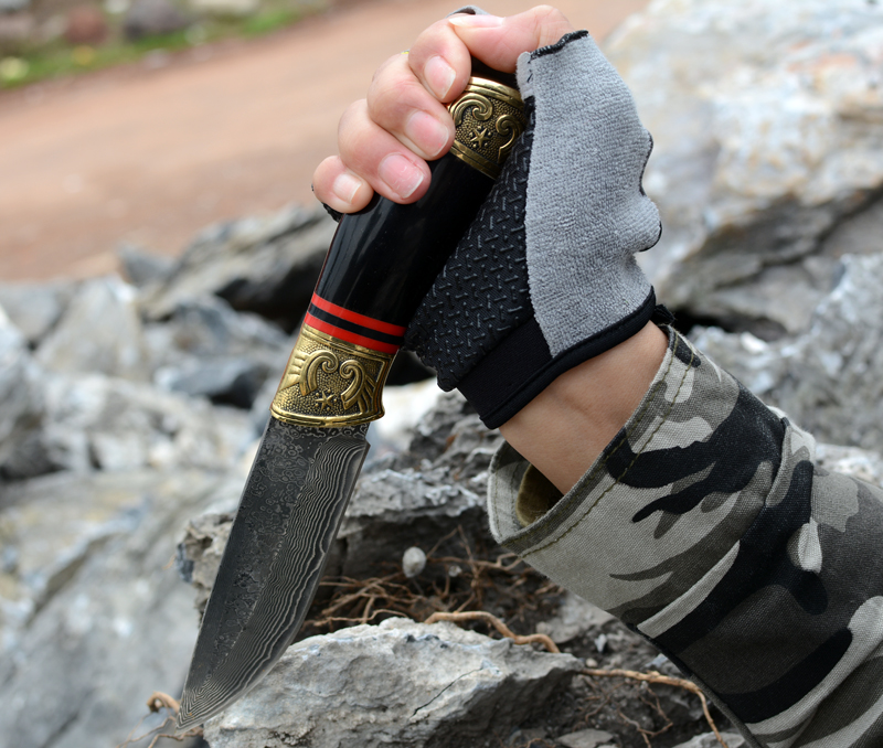 Voltron Double copper horn Damascus steel straight knife outdoor camping collection gift EDC knife