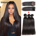 10A Grade Brazilian Straight Hair With Closure Mink Brazilian Virgin Hair Bundles With Lace Closures Straight Brazilian Hair