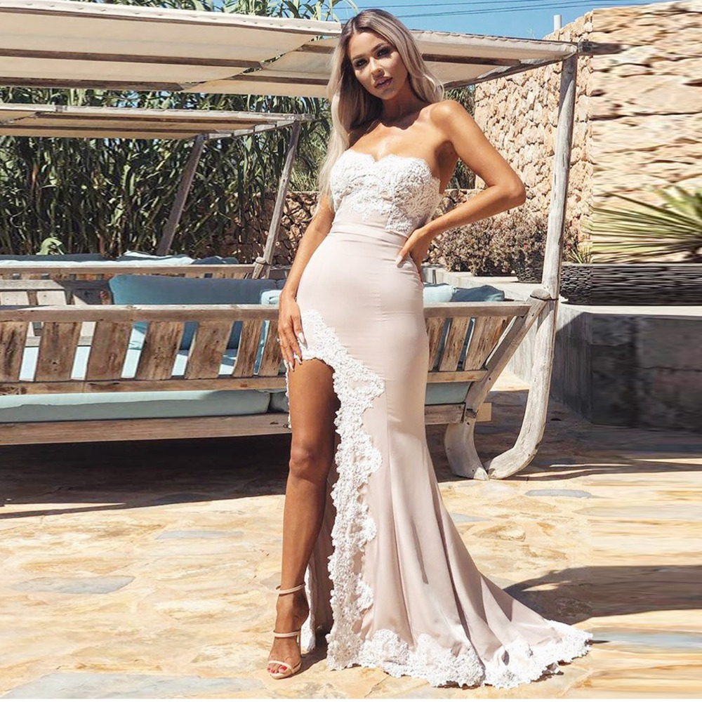Pretty Nude Pink Lace Mermaid Bridesmaid Dresses 2018 Split Sexy Long Formal Gowns For Wedding Party