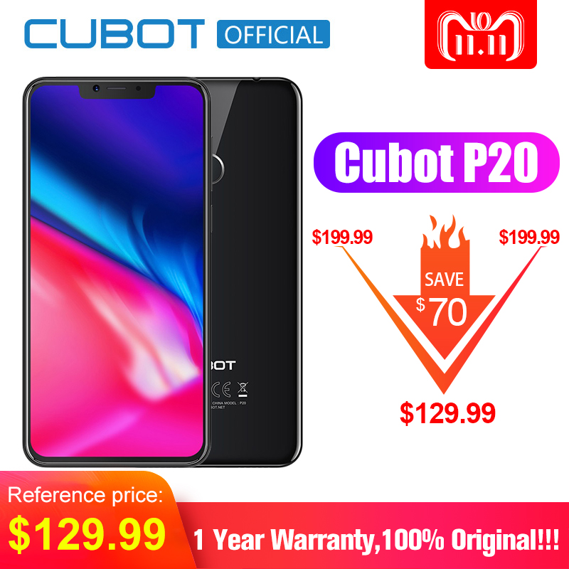 Cubot P20 Android 8.0 19:9 Kerbe Bildschirm 4 gb 64 gb 6,18 ''MT6750T Octa-Core Smartphone 4000 mah 2246*1080 20MP + 2.0MP 4g Telefon