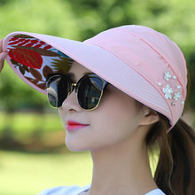 e8618a4a3cf 1PCS women summer Sun Hats pearl packable sun visor hat with big heads wide  brim beach hat UV protection female cap -in Sun Hats from Apparel  Accessories on ...