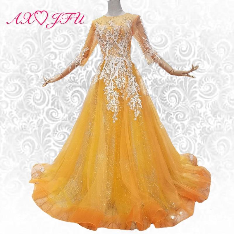 AXJFU lusso principessa pizzo dorato fiore abito da sera boho o collo sheer vintage bordare abito da sera 100% foto reale 319012
