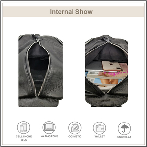 Image 4 - AVRO mochila informal de MODA para mujer, bolso de hombro de piel auténtica de gran capacidad para adolescentes, mochilas de viaje escolares