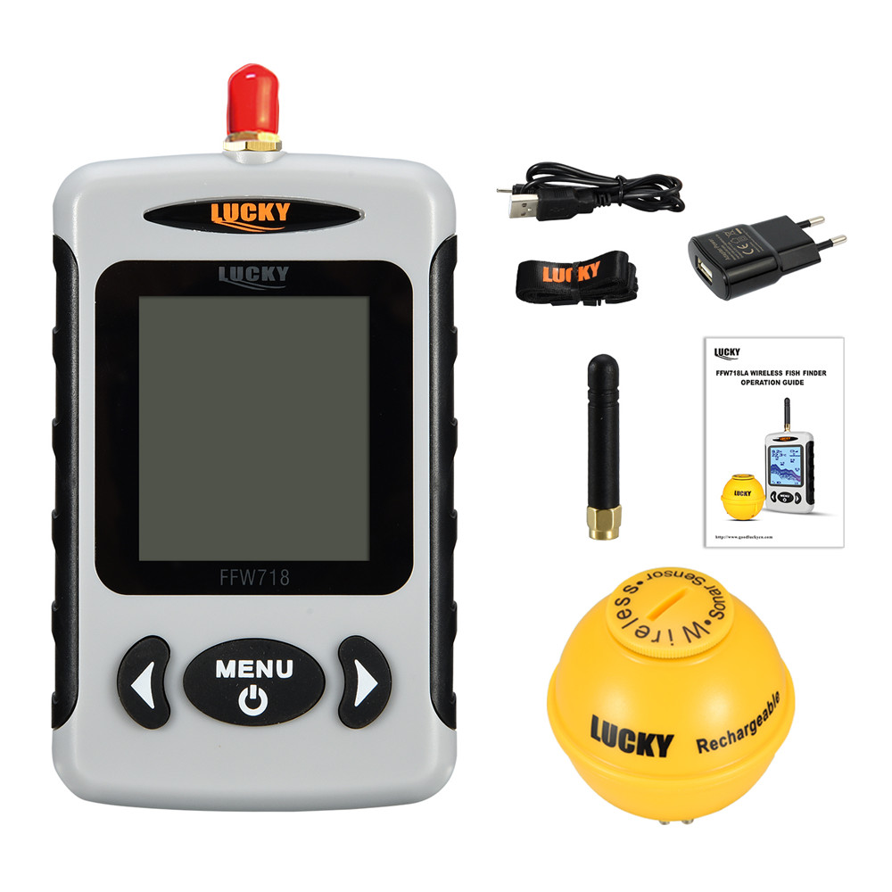 Lucky FFW718& FFW718LA Wireless Portable Fish Finder 45M/135FT Sonar Depth Sounder Alarm Ocean River Lake-1