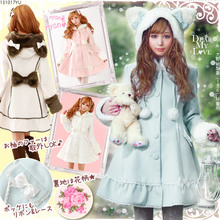Top Sale Lovely Warm Winter Cute Lolita Coat Winter Long Coats All Size with Cap