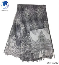 Beautifical beaded tassel lace grey fabric for wedding fashion dubai embroidered pearls africa materials 25N102