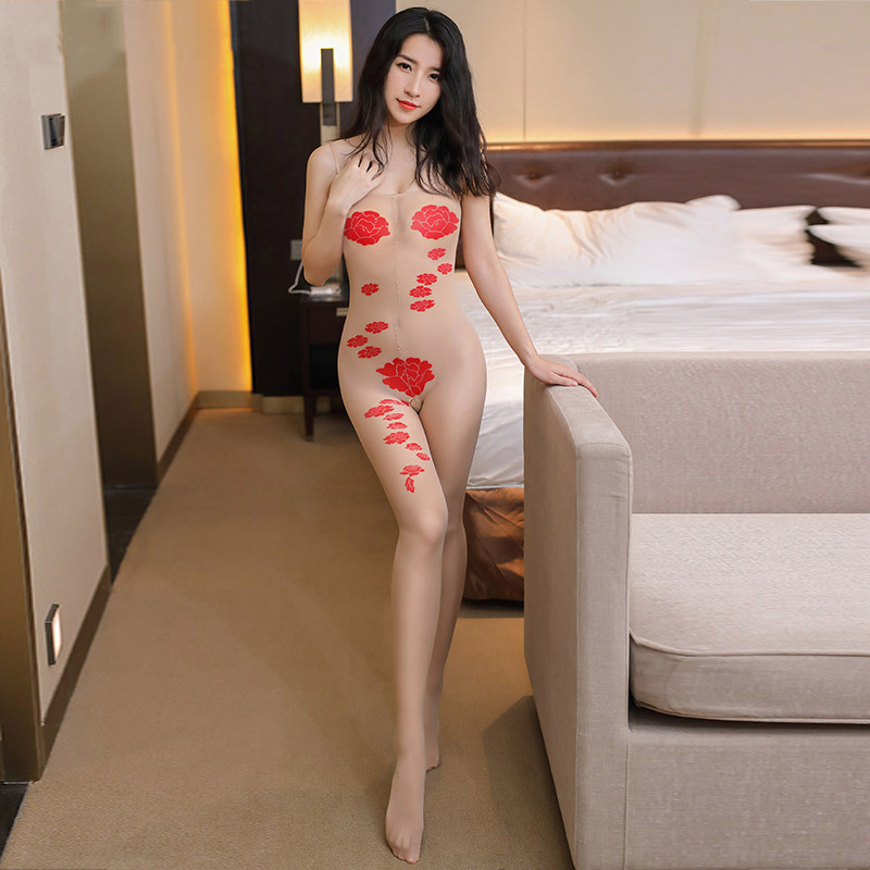 2017 Erotic Sexy Skin Lingerie Rose Jacquard Strapless Strap Open Crotch Body Stocking Women Collant Transparent Tights Medias