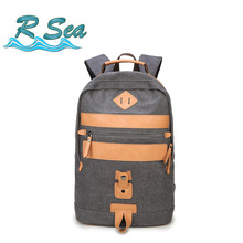 High-end Canvas Bag 15.6inch Laptop Backpack leisure Shoulder Bag Large backpack European and American student bag стоимость