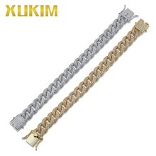 цена на Xukim Jewelry Gold Silver Color Miami Cuban Link Chains Hip Hop Jewelry Iced Out Bracelet for Men Women Punk Rapper Party Gift