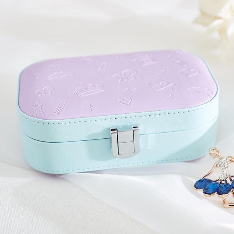 Fashion Womens Mini Jewelry Box Travel Makeup Organizer Faux Leather Casket With Zipper  ...