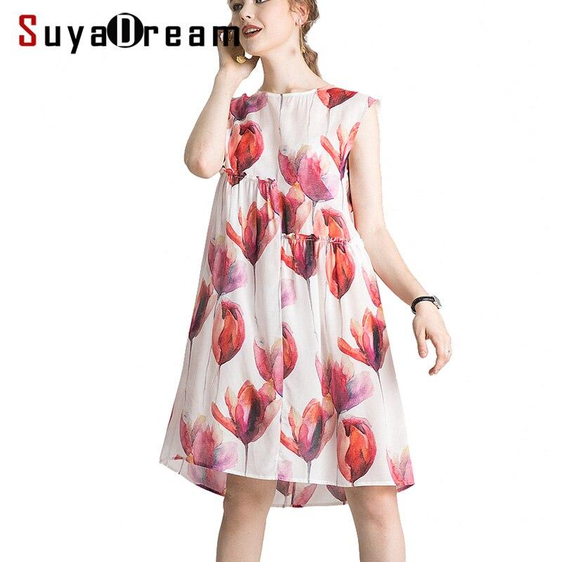Women Silk Dress 100 Real Silk Crepe Floral Print Holiday Dresses Sleeveless Knee Length Summer Dress
