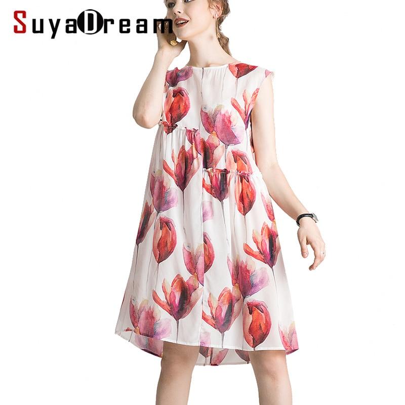 Frauen Silk Kleid 100% Echte Seide Crepe Blumen Druck Urlaub Kleider Ärmellose Knielangen Sommer Kleid 2019 Neue-in Kleider aus Damenbekleidung bei  Gruppe 1