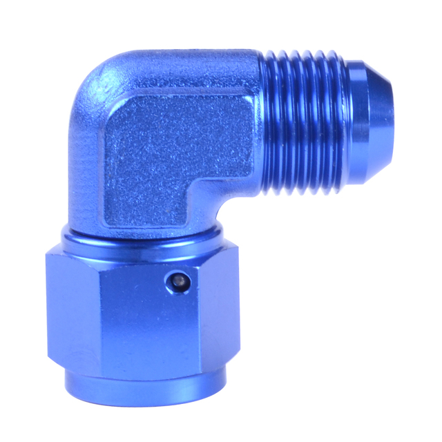 Male 6AN To 6AN Female 90 Degree Aluminum Swivel Coupler Blue