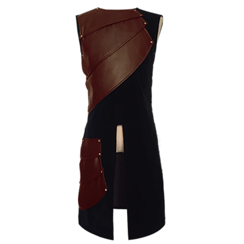 The Middle Ages sleeveless Leather Buckle Neutral Coat Literature And Art Renaissance Male National Wind Cosplay