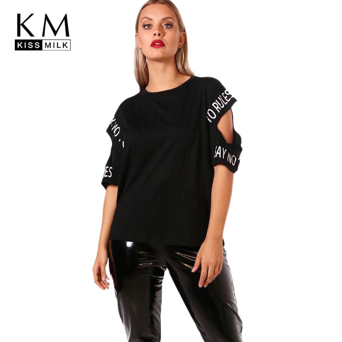 5ddddaa08c3 kissmilk Plus Size 2018 New Fashion Cut Out Women Summer T-shirts Letter  Printed O