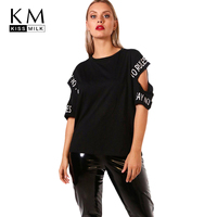 Kissmilk 2018 Plus Size Hollow Out Women T Shirts Large Size Letter Printed O Neck Female
