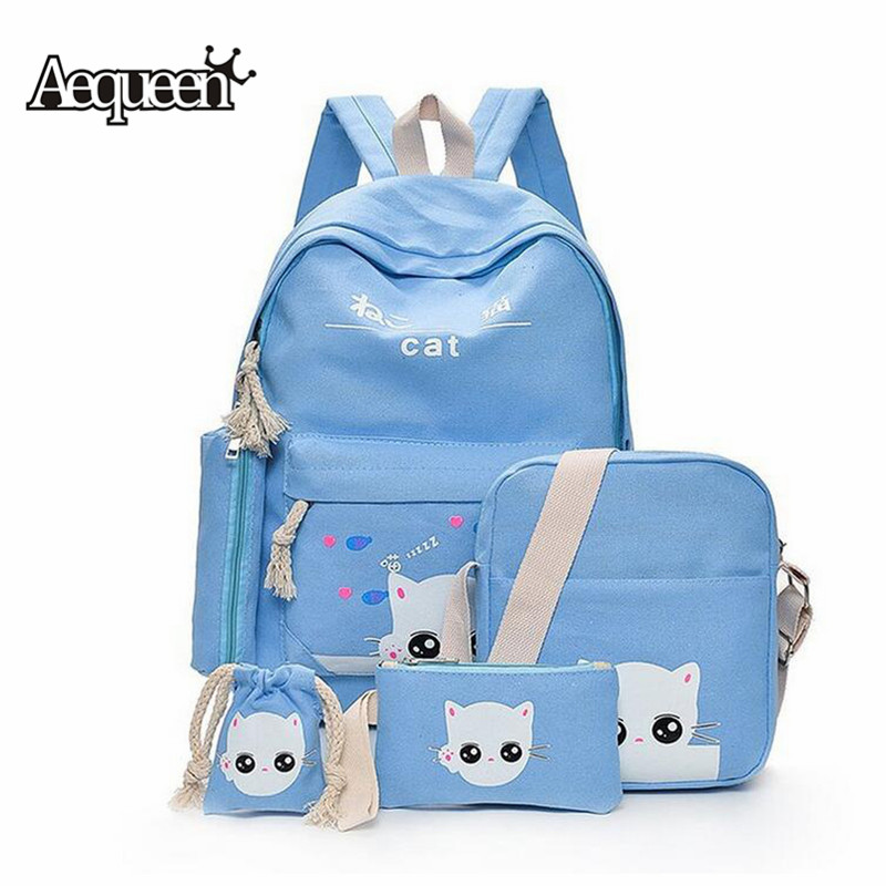 AEQUEEN 5Pcs Set Backpack Women Cut Cat School Backpack Canvas Knapsacks For Teenage Girls Canvas Children School Bag Mochila girl school bag price