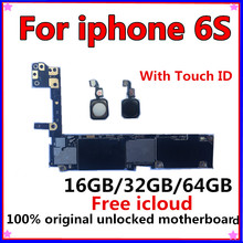 Full unlocked for iphone 6S 6 S Motherboard With/Without Touch ID,Original for iphone 6S Mainboard with Full Chips,16GB 32G 64G international language original n7100 mainboard chips logic 16gb for samsung galaxy note 2 motherboard