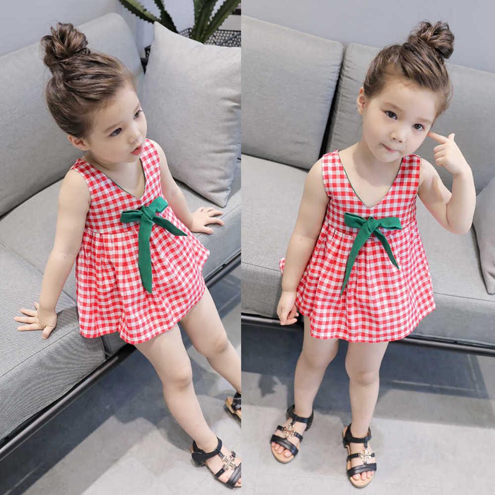 Новинка; летнее платье для маленьких девочек; модное идиллическое платье; хлопковое платье без рукавов на бретельках; милое праздничное платье принцессы с бантом для дня рождения