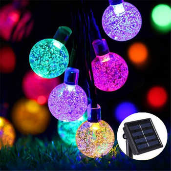 New 50 LEDS 10M Solar Lamp Crystal Ball LED String Lights Waterproof Fairy Garland For Outdoor Garden Xmas Wedding Multi Color - DISCOUNT ITEM  51 OFF Lights & Lighting