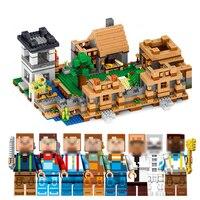 Qunlong Juguetes MI MUNDO 4 En 1 Aldea Sueño Mini Bloques de Construcción Compatibles Minecraft Legoe Ciudad Educantion Juguete Para Los Niños