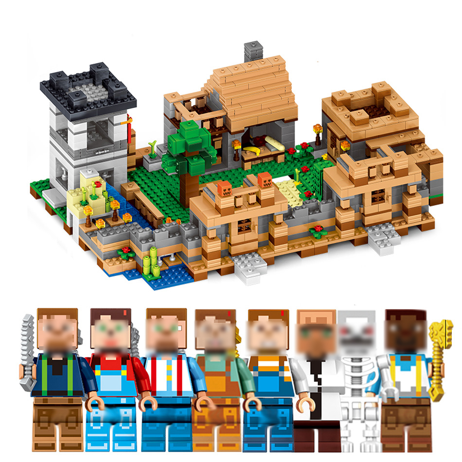 Qunlong Toys MY WORLD 4 In 1 Dream Village Mini Building Blocks Compatible Minecraft Legoe City Educantion Toy For Kids qunlong 0521 my world volcano mine building blocks toy compatible legoe minecraft building block city educational boys toy gift