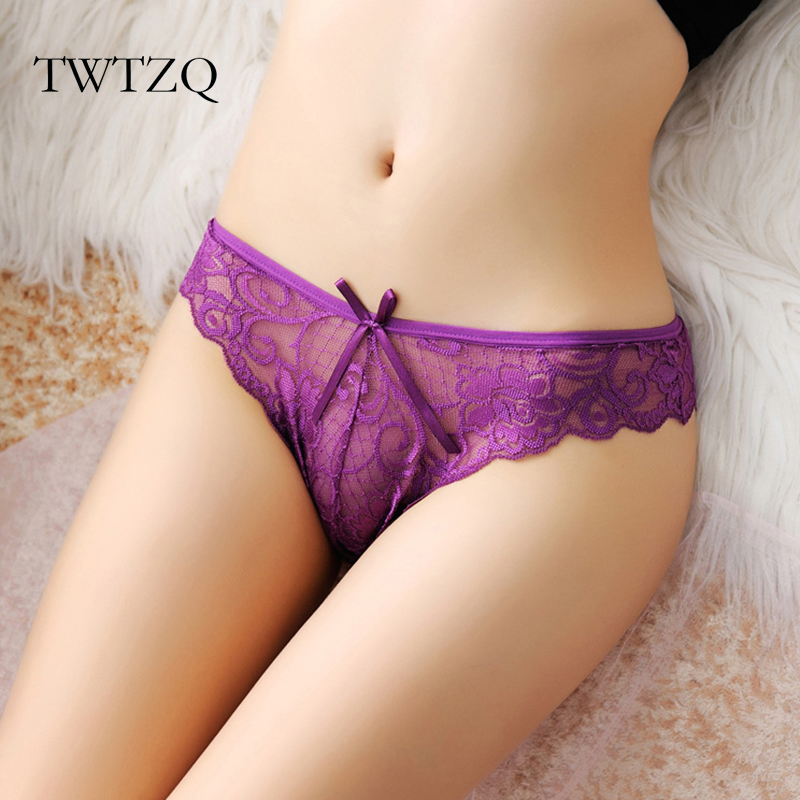 Buy TWTZQ Flower Embroidered Underwear Women Sexy Lace Panties G String Briefs Hollow Transparent Thong Lady Tanga Lingerie A3LS002