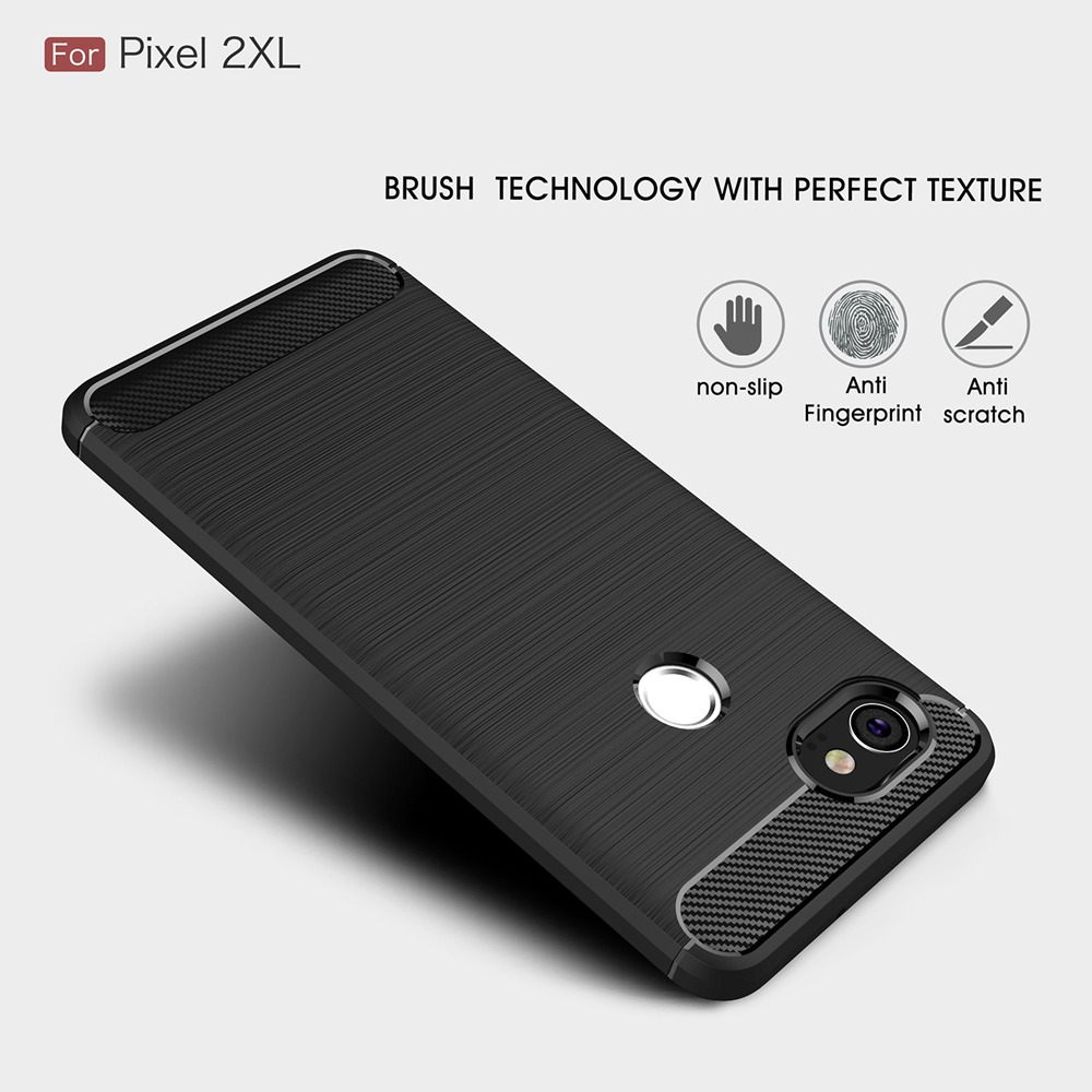 Case For Google Pixel 2 XL Carbon Fiber Soft TPU Silicone Brushed Anti-Knock Back Cover For Google Pixel 2 XL