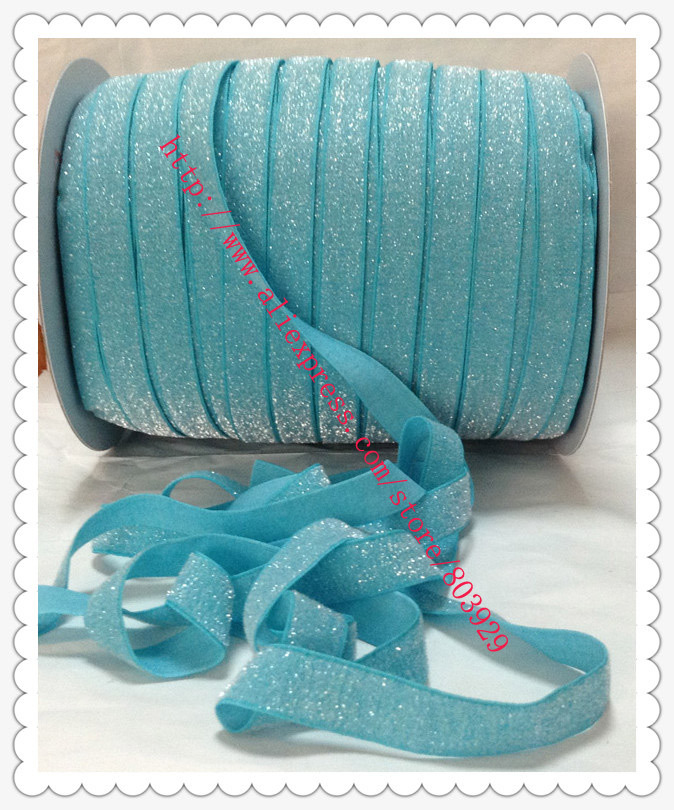 50yards lot Non stretch 1 5 Frosted Misty Turquoise Glitter Ribbon