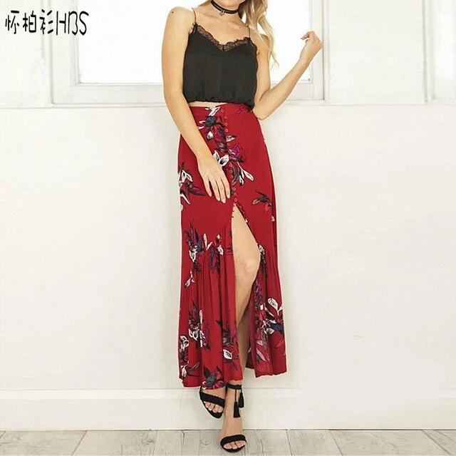 HBS 2017 Boho цветочный печати длинные юбки женская шифон летний пляж макси юбка Эластичный vintage chic сексуальная юбка женский