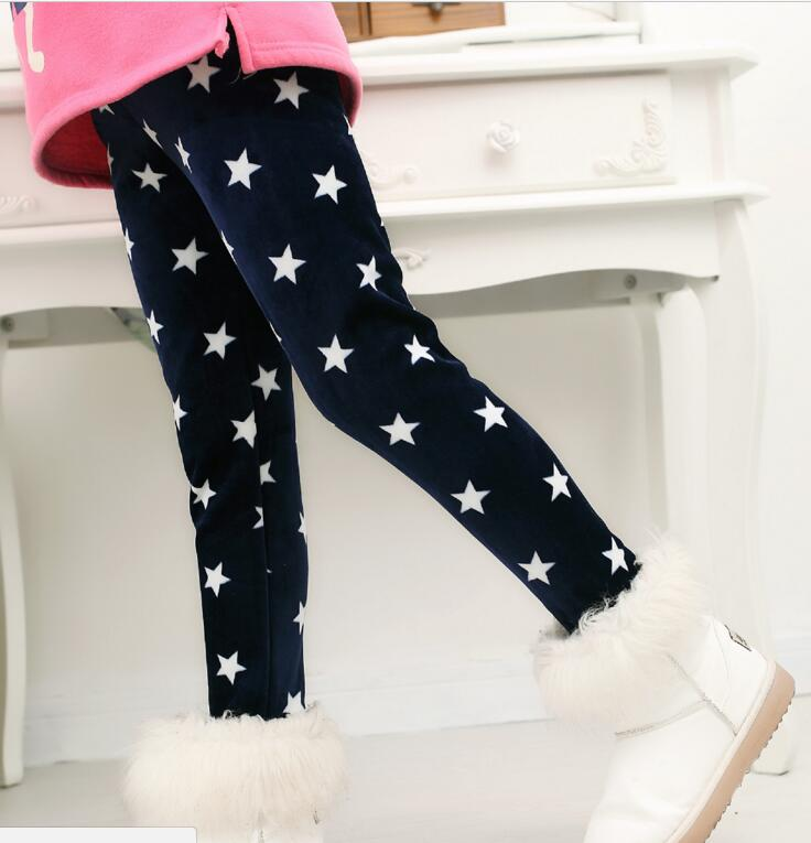 VEENIBEAR Winter Warm Girls Leggings Star Print Girls Pants Kids Children Elastic Waist Girls Trousers Clothing 2-7T 1