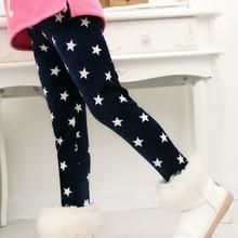 VEENIBEAR, зимние теплые леггинсы для девочек, штаны для девочек с принтом звезды, детские штаны с эластичной резинкой на талии для девочек, От 2 до 7 лет одежды