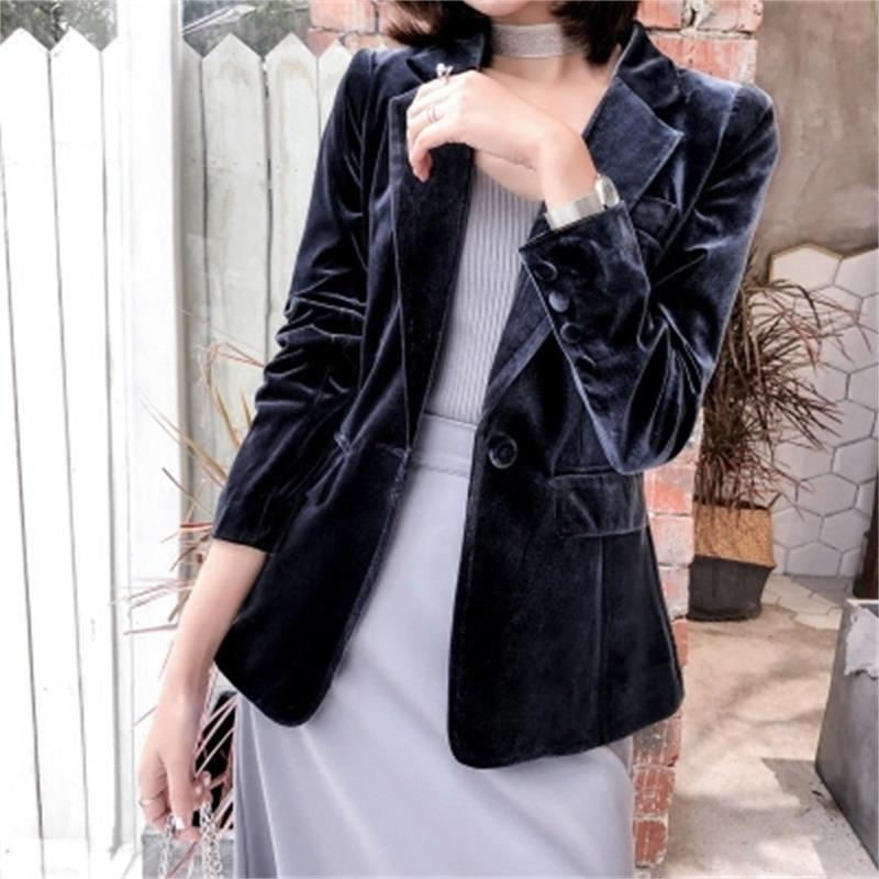 Fashion gold velvet Blazers Women jacket spring Autumn New Large size High end Smoke gray slim