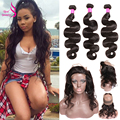 Brazilian Pre Plucked 360 Lace Frontal With Baby Hair 3Bundles Brazilian Virgn Hair With 360 Swiss Lace Virgin Body Wave Frontal
