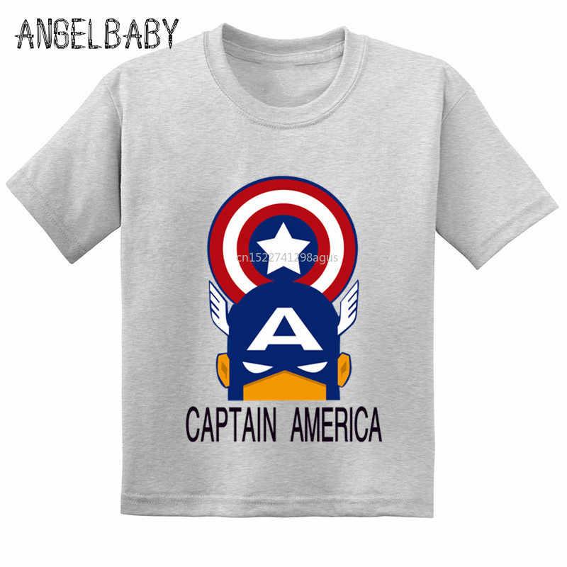 Gorąca sprzedaż Avengers kapitan ameryka Cartoon drukuj dzieci koszulka T-shirt dla dzieci dziewczyny lato bawełna T shirt chłopcy na co dzień śmieszne ubrania, GKT257