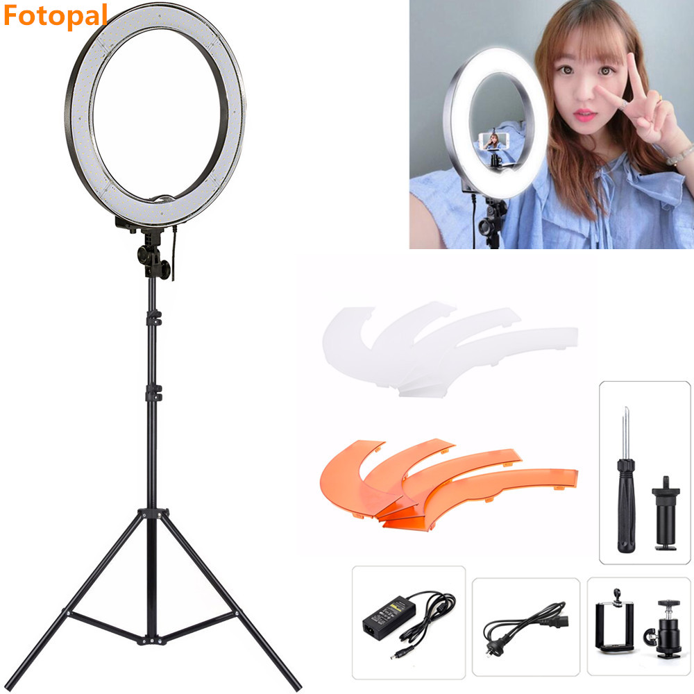 Fotopal 18 240 LED Light Ring For Makeup Photo Cell phones Selfie Photography Ring Lighting Annular