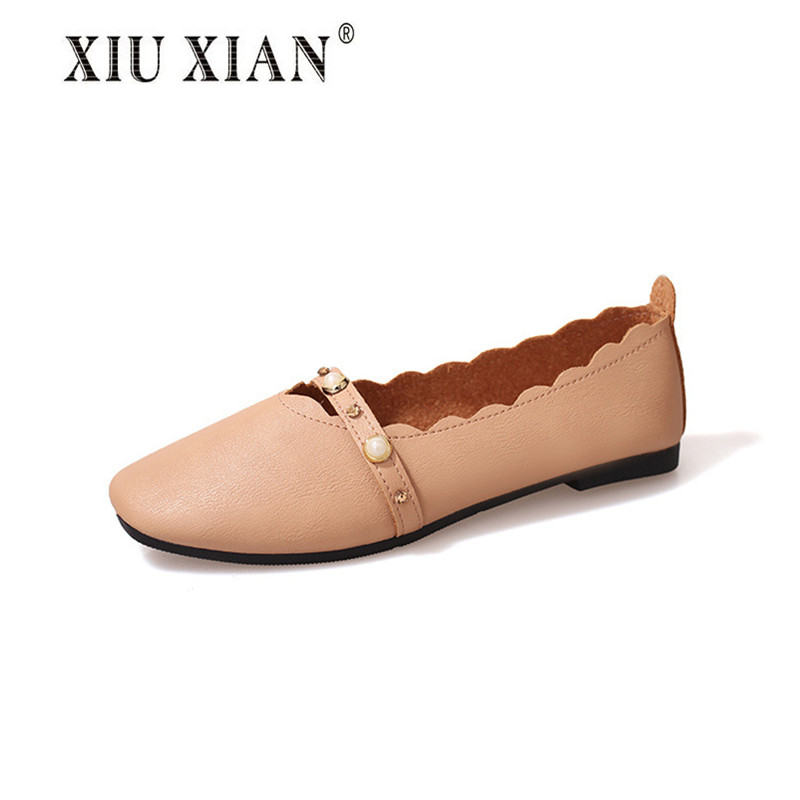 2017 New Wave Pearl Decoration Artificial PU Women Shoes Flats Elegant Solid Round Toe Women Flats All-match Simple Student Shoe