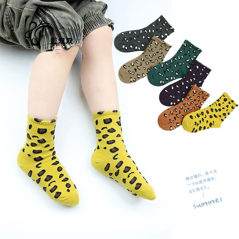 2019 Fashion Leopard Print Girls Kids Socks Autumn Winter Cotton Socks Child Boys 5 Pairs/set Decorative Socks Warm Ankle Socks